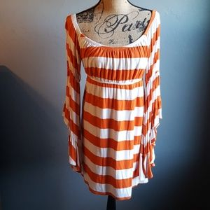 Anthro Joy Han Striped Bell Sleeve Empire Dress